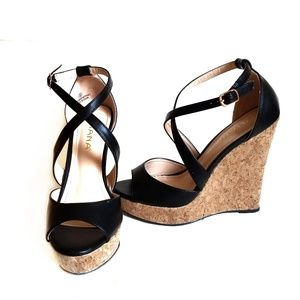 Liliana Cross Strap Cork Wedge Black Size 8